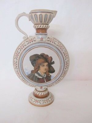 Museum Quality C.1900 Mettlach Portrait Ewer That Is Heavily Decorated & Signed
