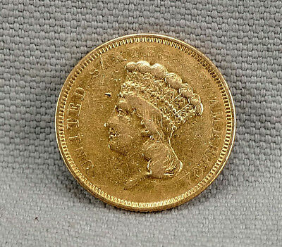 1854-O $3 Three Dollar Indian Pricess Gold Coin! Decent VG-F! Free Shipping!