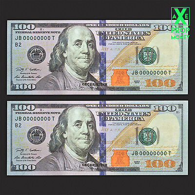 300 Pieces $100 U.S. New Style Full Print Prop Movie Fake Invalid Money Bills