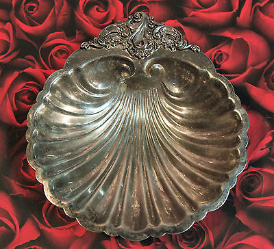 Vintage Baroque by Wallace #278 Clam Shell Candy Serving Dish.Silver-Plated