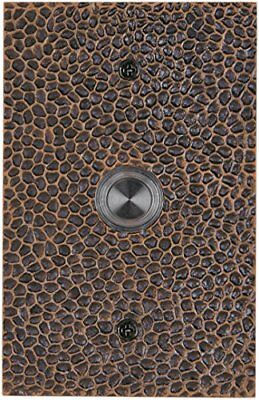 Waterwood Solid Brass Large Hammered Plate Doorbell in Oil Rubbed Bronze
