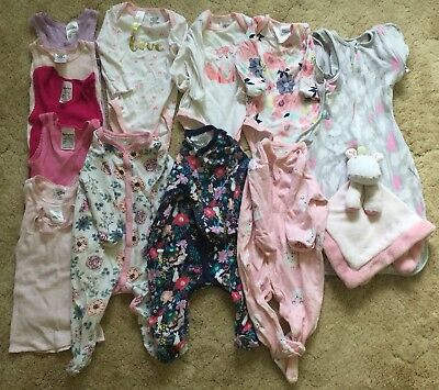 Baby Girl Size 00 Clothing Bulk Lot Tops Rompers Outfits Singlets Swaddle Toy