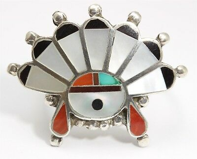 Vintage Zuni Sterling Silver Small Ornate Multi Stone Mosaic Inlay Sunface Ring