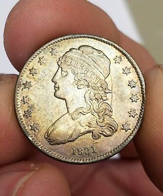 1831 25C Small Letters Capped Bust Quarter Nice Grade Beautiful Toning