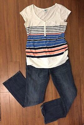 *MATERNITY LOT* Striped White Blue Medium T-Shirt & Old Navy Jeans - Size 6