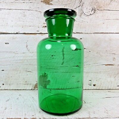 RARE Antique Green 5000ml Large Heavy Glass Jar Apothecary Medecine Pharmacy