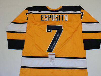 PHIL ESPOSITO autographed signed Bruins yellow Jersey HOF 1984 JSA witness