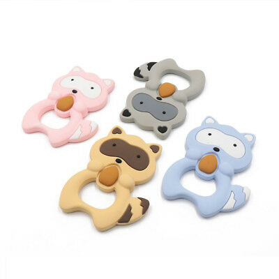 2Pcs Baby Silicone Cute Raccoon Teether Teething Chew Pendant Necklace BPA Free