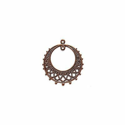 ELECTROPLATED BRASS EARRING ROUND Drop 1 Loop 25x28mm Metallic Antique Copper 3
