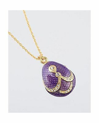 PURPLE & GOLD FABREGE Egg Styled Pendant Necklace FREE SHIPPING