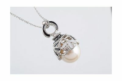 SILVER & BLACK PEARL Fabrege Egg Styled Pendant Necklace FREE SHIPPING