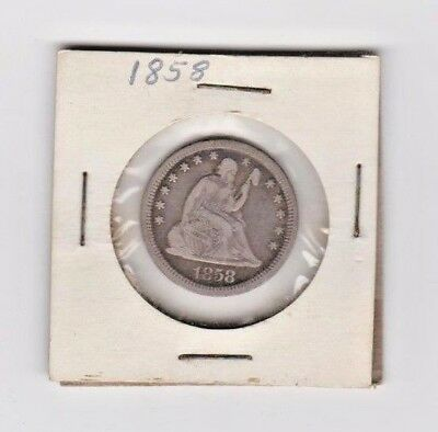 1858 Seated Liberty Quarter .. Clear Excellent Finish
