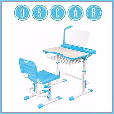 Kids Multi Function Desk & Chair Blue Adjustable Height Workstation Table SALE