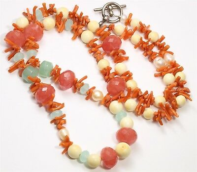 """Ornate Southwestern Graduated Red Coral Branch Amazonite Bone Bead Necklace 29"""""""