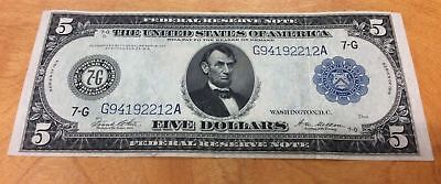 1914 $5 Federal Reserve Note Large Note FRN