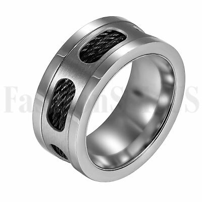 10MM Mens Black Silver Tone Stainless Steel Cable Wedding Ring Band Size 9-13