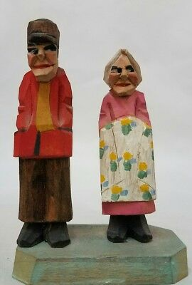 Vintage German Hand Carved Wood Old Man Woman Couple Figurine German? statue