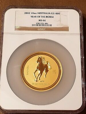 2002 Australia 10 oz Gold Coin .9999 Lunar Year of Horse G$1000 NGC MS-66 RARE!