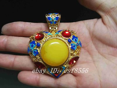 China's Tibet silver inlay cloisonne & zircon by hand pendants z03
