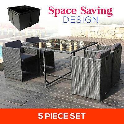 5pc Outdoor Furniture PE Wicker Dining Table Setting Garden Patio Rattan Set