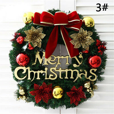 HOT!Christmas Holiday Wreath Door Ornament Garland Decoration Christmas Bell New