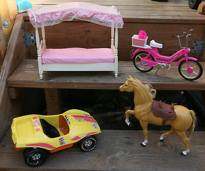 VINTAGE BARBIE LOT of 4 - Horse,Dune Buggy ,ARCO Scooter & Bed