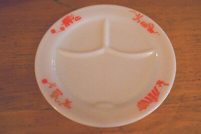 Vintage PYREX Red Milk Glass Clown Circus Child's Divided Plate-HTF-EXC-A++