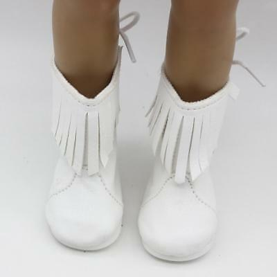 Pair White Mid-calf Boots Shoes for 18'' American Girl Our Generation Doll