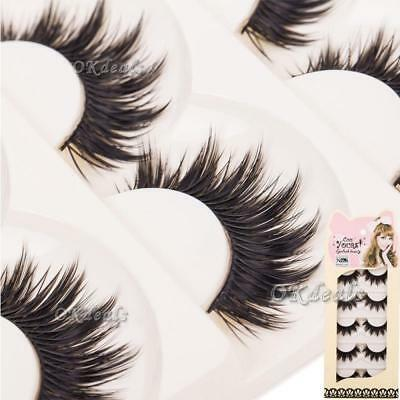 Fashion 5 Pairs Natural Handmade Long Soft Makeup Cross Thick False Eyelashes