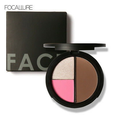3 Colors Shimmer Bronzers and Highlighters Powder Makeup Blush Palette Contour#T