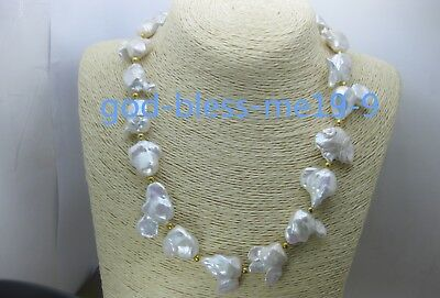 """Rare Huge 15-25MM WHITE SOUTH SEA BAROQUE PEARL NECKLACE 18/"""" Y01 AAA"""