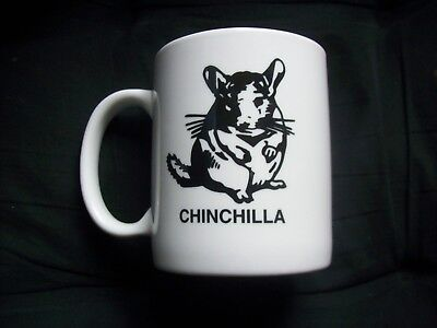 CHINCHILLA White Ceramic COFFEE CUP Cute Animal Character Artwork Mug CHINCHILLA