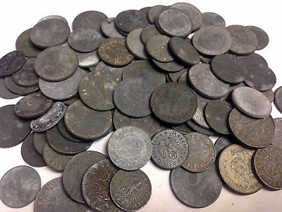 100 x Third Reich Nazi WWII Zinc Coins: 1, 5, & 10 Reichspfennigs mixed lot #7
