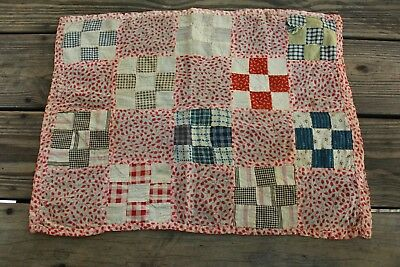 Antique Nine Patch Patchwork Doll Quilt Calico Homespun Cotton Fabric