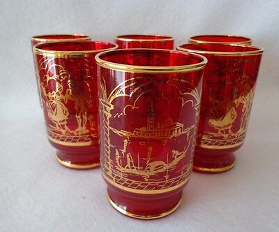 Ruby Red Glass Tumblers With Gold Trim - Set Of 6
