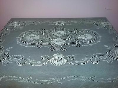 Antique very old France large ecru gauze embroidered tablecloth