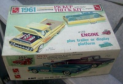 1961 AMT Ford Pickup Truck w/Trailer 1/25  Plastic Kit #200 Boxed-Partial Build