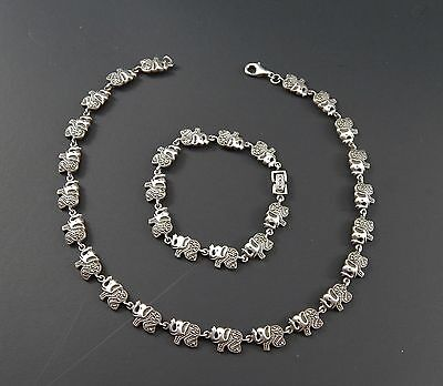 """Vintage 925 Sterling Silver Marcasite Elephant Necklace and Bracelet 7 and 15"""""""