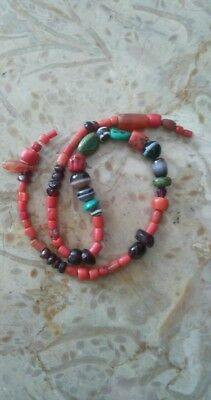 Ancient beads strand coral,agate,garnet,turquoise