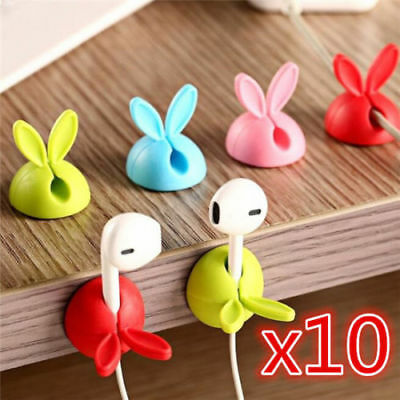 10Pcs Cute Smart Cable Organizer Holder Line Fixer for Home Office Desk A