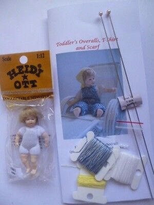 Knitting kit 1:12 scale overalls for 2.75 inch dollhouse toddler doll + doll