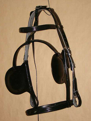 Trotting Bridle and Blinkers - PVC - Black