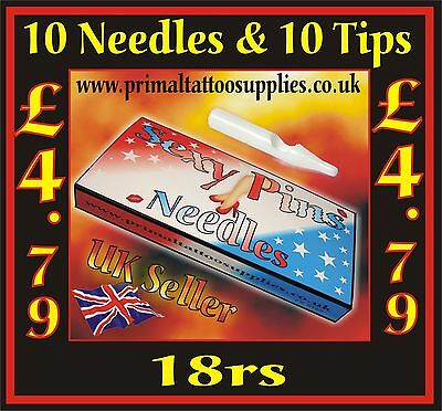 10 Tattoo Needles 18 RS + 10 Disposable Short Tips 18R (Tattoo Supplies - Grips)