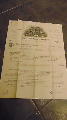 1899 Union Assurance Society Policy Of Insurance In Vgc
