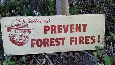 Vintage Smokey The Bear Sign, National Forestry Sign, 1960's, State Park Sign