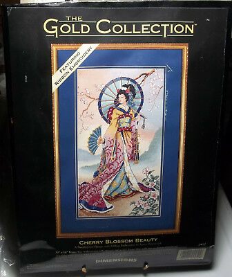 Dimensions CHERRY BLOSSOM BEAUTY needlepoint kit GOLD COLLECTION Asian Geisha