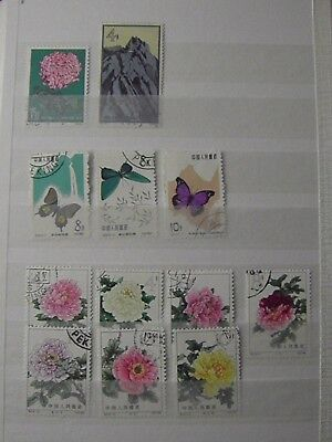 China  S56 Butterf.  S 57 S 61 Peonie CTO NG 12 stamps See Photo & description