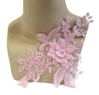 Pink Lace Applique 3D Sequin #17 Aussie Seller Tutu Dance Costume Formal Trim