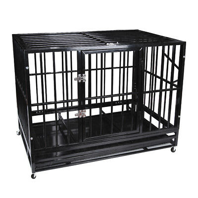"48"" Heavy Duty Pet Dog Cage Strong Metal Crate Kennel Playpen w/ Wheels&Tray BK"