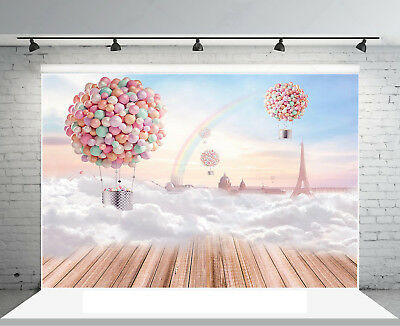 7x5FT Hot Air Balloon Clouds Wood Floor Backdrops Studio Props Photo Background